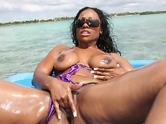 Oiling up my ass on the boat ride