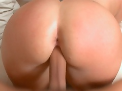She hopped on that cock and rode that dick as her enormous booty was bouncing.